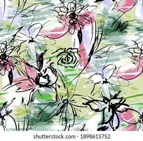 Seamless artistic brush stroke pattern.