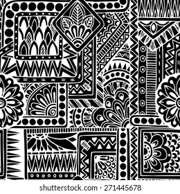 Seamless asian ethnic floral retro doodle black and white background pattern in vector. Henna paisley mehndi doodles design tribal black and white pattern.
