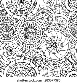 Seamless asian ethnic floral retro doodle black and white background pattern in vector. Henna paisley mehndi doodles design tribal pattern. Used clipping mask for easy editing.