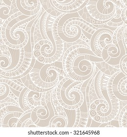 Seamless asian ethnic floral retro doodle  background pattern in vector. Henna paisley mehndi doodles design tribal pattern.