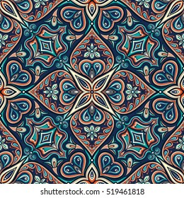 Seamless asian ethnic floral retro doodle background pattern in vector. Islam, Arabic, Indian, ottoman motifs design tribal pattern. Zentangle circles for printing on fabric or paper.