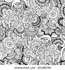 Seamless asian floral retro background pattern in vector. Henna paisley mehndi doodles design ethnic pattern. Used clipping mask for easy editing. Black and white version.