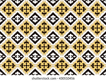 Seamless asian ornaments collection. Historically ornamental of nomadic people. It based on real-Kazakh carpets of felt and wool. Mirror-symmetric illustrations. Region Of Shymkent