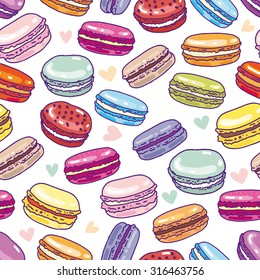 Seamless assorted macarons pattern. Macaroon background
