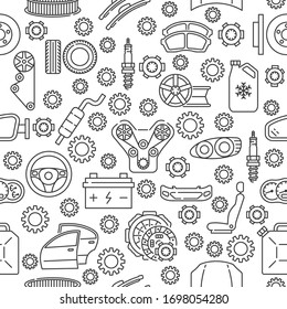 Seamless auto service pattern with line icon. Gray auto parts icons on white background.