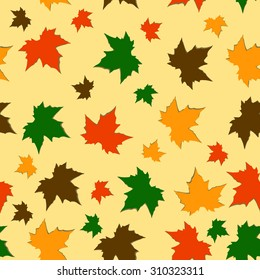 Seamless autumn background of maple leaves. Colorful vector image. Eps 10