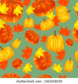 Seamless autumn background. Red and yellow pumpkins and autumn leaves.grapes, red.