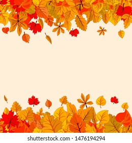 Seamless autumn leaves fall isolated background. Golden autumn banner template. Vector illustration
