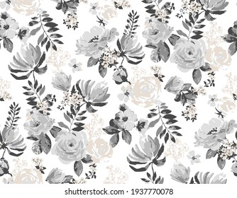 seamless autumn natural abstract pattern. Roses flower and blossoms, with small flower elements. Fabric texture print. grey  floral and leaves on a white background,