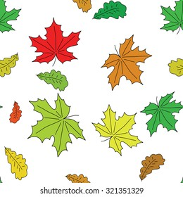 Seamless autumn pattern with colorful falling leaves