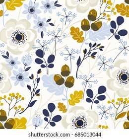 Seamless Autumn pattern with floral design elements and anemone, vector illustration on beige background.