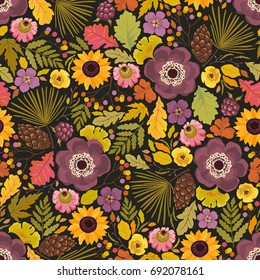 Seamless autumn pattern with flowers anemones, pine cones and leaves. Vector colorful illustration in rustic style on dark background.