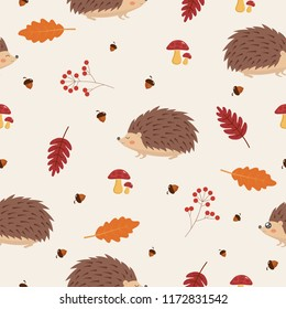 Seamless Autumn Pattern with Leaves and Hedgehog.