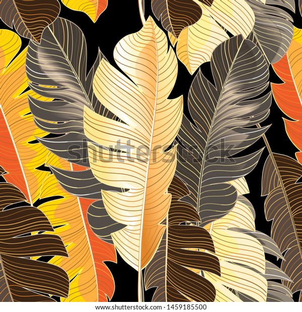 Seamless autumn pattern of tropical leaves of a palm tree against a dark background. Design example for wallpaper, fabric or web site.