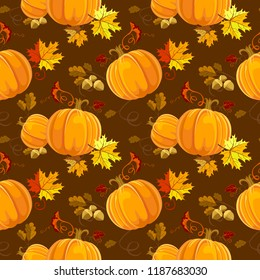 Seamless Autumn pattern Vector floral style design: pumpkin, orange, yellow, brown red fall forest Maple leaves, oak tree leaves. Wallpaper, background beautiful, cute, trendy bright print