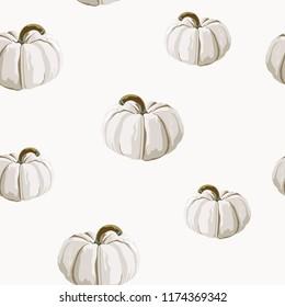 Seamless autumn pattern with white pumpkins. Halloween. Happy thankfull day. Vector illustration. Light background.