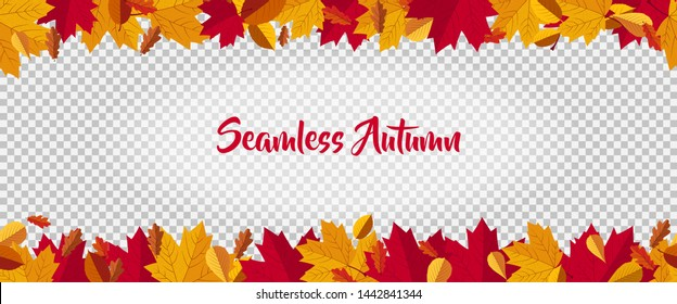 seamless autumn themed frame decorated with red and orange maple leaf on transparent background. frame for photo, banner, poster, cover, flyer and decoration.