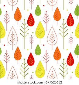 Seamless autumn vegetable pattern with abstract ornamental trees and colorful leaves and circles on a white background. Vector background.