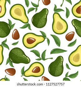Seamless avocado pattern, avocado slices, leaves on white background. Print, texture, healthy eating