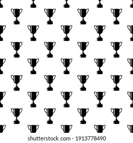 Seamless awards pattern. Black cups on white background. Vector illustration