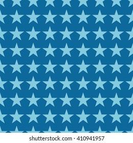Seamless azure blue fashion stars pattern vector