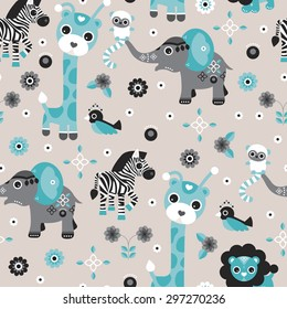 Seamless baby blue boy safari animals zoo illustration elephant giraffe lion zebra and bird background pattern in vector