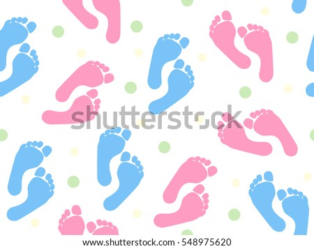 Seamless Baby Footprint Background Blue Pink Stock Vector Royalty
