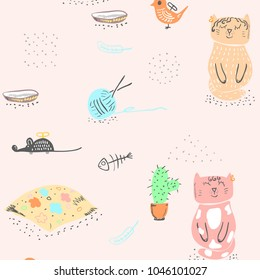 Seamless baby pattern background with cute cats.