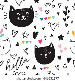 Seamless baby pattern with cats