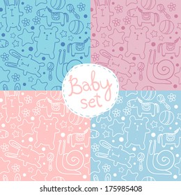 seamless baby pattern with cute cartoon animals for boys and girls.