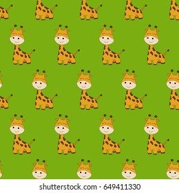 Seamless baby pattern with cute giraffe. Best Choice for cards, invitations, printing, party packs, blog backgrounds, paper craft, party invitations, scrapbooking.
