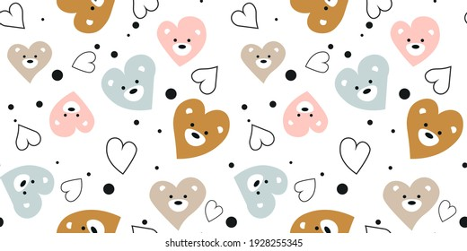Seamless baby pattern with cute muzzles and hearts. Ideal for baby fabrics, textiles, backgrounds, packaging, covers. Creative background vector