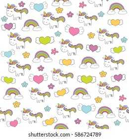 Seamless baby pattern with cute unicorn, rainbow, hearts and flowers. Best Choice for cards, invitations, printing, party packs, blog backgrounds, paper craft, party invitations, digital scrapbooking.