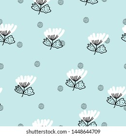 Seamless baby pattern with flowers. Creative kids texture for wrapping, textile, wallpaper, apparel and fabric. Vector illustration. Blue background.