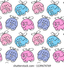 Seamless baby pattern. Happy pink, violet, purple, blue elephants are flying on wings on a white background. Humor textile print composition, hand drawn style print. Vector illustration.