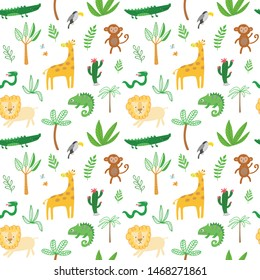 Seamless baby pattern with lion, giraffe, monkey and crocodile on white. Vector illustration with wild animals in jungle for kids. Seamless childrens background foe wallpapers or textile.