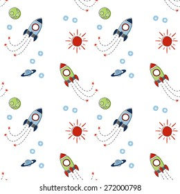 Seamless baby pattern. Many small colored  rockets, stars and planets  on white background. Vector illustration.