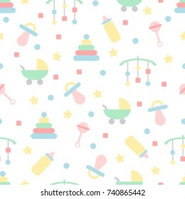 Seamless baby pattern in pastel colors with toys & objects
