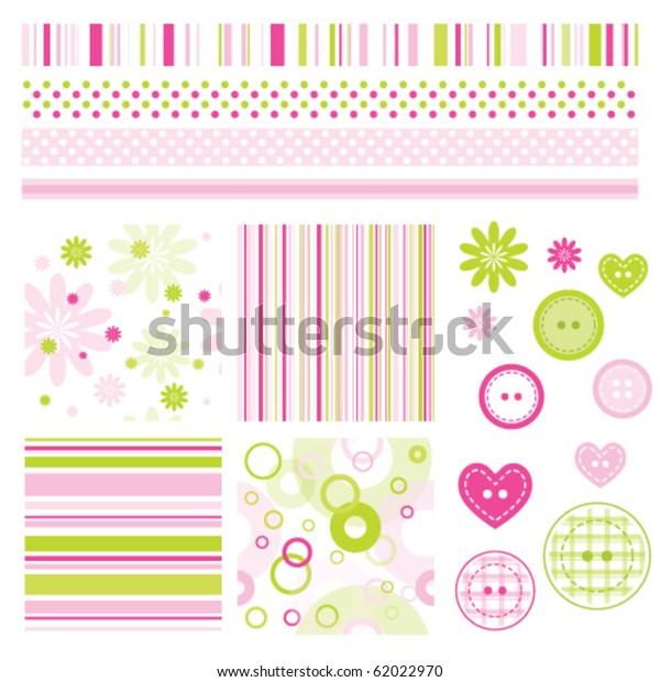 Seamless Baby Patterns Flowers Lines Lovely Stock Vector Royalty Free 62022970