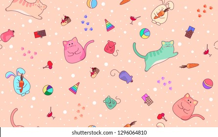 Seamless baby peach-colored background with animals and toys. Pattern with cats, mice, toys and sweets. Design for Wallpaper, clothes, bed linen or children's room.