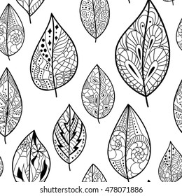 Seamless back and white pattern with leaves. Use for wallpaper, pattern fills, web page background.