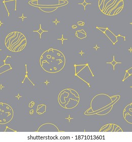 Seamless background with 2021 colors (Ultimate Gray + Illuminating). Trend background for your design. Decorated with a Space icons, planets, constellations.