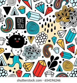 Seamless background with abstract design elements and strange creatures. Endless pattern in vector.