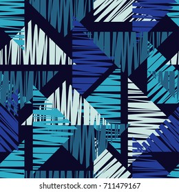 Seamless background with abstract geometric pattern. Background made of triangles. Scribble texture. Textile rapport.