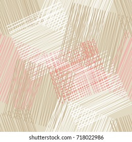 Seamless background with abstract geometric pattern. Grunge texture. Embroidery on fabric. Scribble texture. Textile rapport.