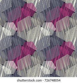 Seamless background with abstract geometric pattern. Hexagon pattern. Scribble texture. Textile rapport.