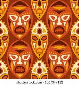 Seamless Background. Abstract Seamless Background with Ritual Masks for Print or Card. Ethnic Seamless Background with Color Trible Ritual Masks for your Design. Vector Texture.