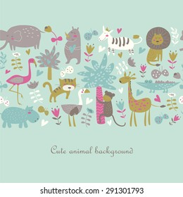 Seamless background with Africa animals. Cute tiger, alligator, lion, elephant, rhio, hippo, ostrich, monkey, flamingo, palms, flowers, butterflies  and zebra in cartoon style.