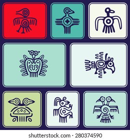 Seamless background with American Indians relics dingbats characters for your design
