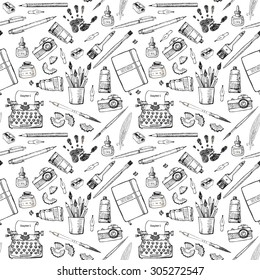 Seamless background with artist's and writer's tools. Can be used for wallpaper, pattern fills, textile, web page background, surface textures.